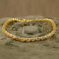 Gold vermeil citrine tennis bracelet, 'Golden Twilight' (India)