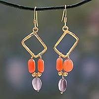 Gold vermeil feldspar dangle earrings, 'Mystic Quadrants' - Gold vermeil feldspar dangle earrings