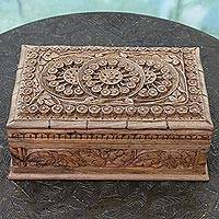 Walnut wood jewelry box, 'Sunflower Ivy' - Handmade Floral Wood Jewelry Box from India