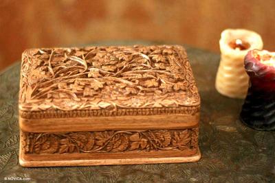Hand Carved Wood Jewelry Box Secret Birds Novica