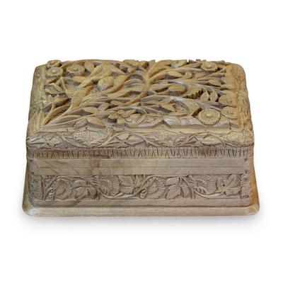 Hand Carved Walnut Wood Jewelry Box