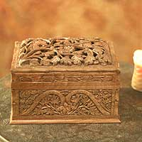 Walnut wood jewelry box, 'Rampant Nature' - Hand Carved Wood jewellery Box