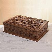 Walnut wood jewelry box, 'Tempting Grapes' - Walnut wood jewelry box