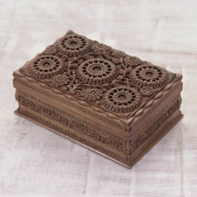 Walnut wood jewelry box, 'Sunflower Mandalas' - Hand Carved Floral Wood Jewelry Box