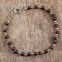 Garnet charm bracelet, 'Daisy Dew' - Sterling Silver and Red Garnet Beaded Bracelet