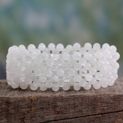 Moonstone stretch bracelet, 'Rainbow' - Handcrafted Indian Stretch Moonstone Bracelet