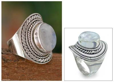 Rainbow moonstone cocktail ring, 'Mist' - Rainbow Moonstone Cocktail Ring