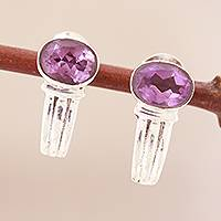 Amethyst earrings, 'Purple Flame' - Sterling Silver and Amethyst Earrings
