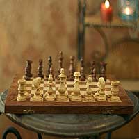 Wood chess set, 'Clash of Titans' - Wood chess set