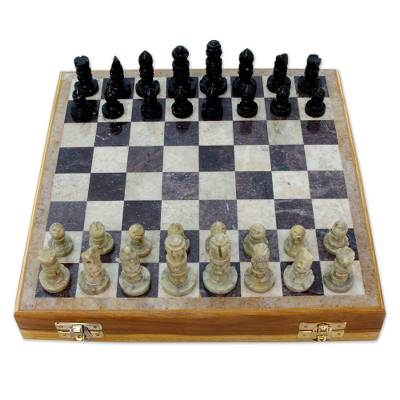 Hand crafted soapstone chess set wood chess set game for Hand crafted chess set