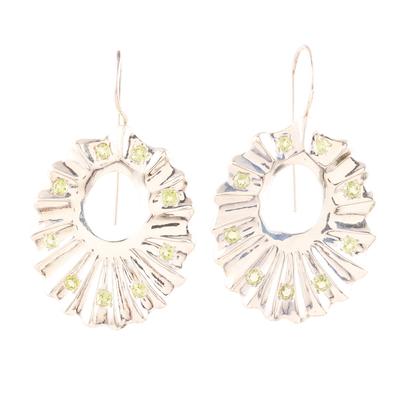 Indian Modern Jewelry Sterling Silver Peridot Earrings