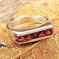 Garnet cocktail ring, 'Sparkling Crimson' - Garnet cocktail ring