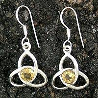 Citrine dangle earrings, 'Trinity Knot' - Hand Crafted Citrine and Silver Dangle Earrings