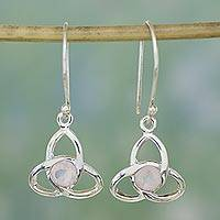 Rose quartz dangle earrings, 'Trinity Knot' - Rose quartz dangle earrings
