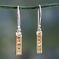 Citrine drop earrings, 'Quintet' - Citrine Sterling Silver Drop Earrings