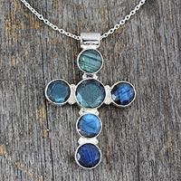 Labradorite cross necklace, 'Peace' - Labradorite Cross Sterling Silver Necklace