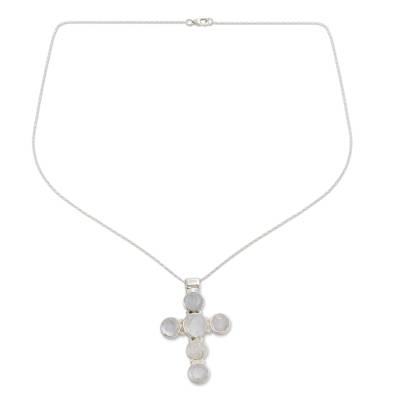 Rainbow Moonstone Necklace in Sterling Silver Cross Jewelry