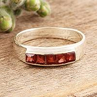 Garnet band ring, 'Quintet' - Square Cut Garnet Band RIng