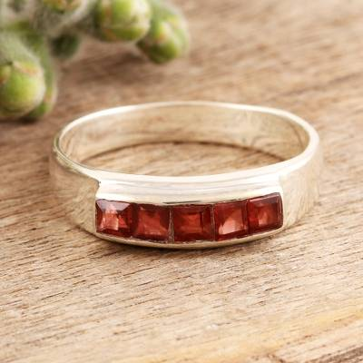 Square Cut Garnet Band RIng