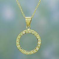 Gold vermeil peridot choker, 'Cycle of Life' - Gold Vermeil with Peridot Studs in Indian Necklace