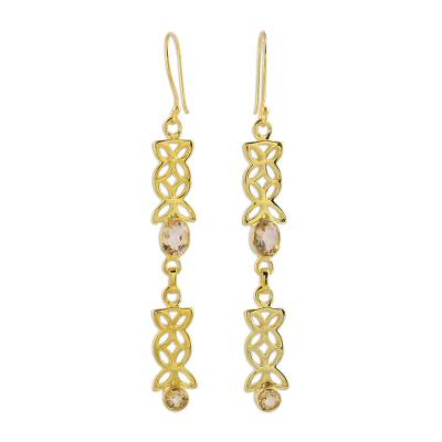 Gold Vermeil and Citrine Earrings from India Jewelry