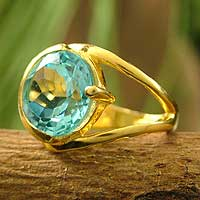 Gold vermeil blue topaz ring, 'India Blue' - Gold vermeil blue topaz ring