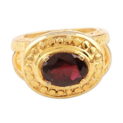 Gold Vermeil Garnet Cocktail Ring