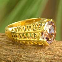 Gold vermeil amethyst ring, 'Regal' - Gold vermeil amethyst ring