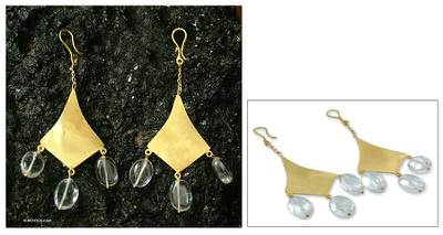 Gold vermeil quartz dangle earrings, 'Seduction' - Gold vermeil quartz dangle earrings
