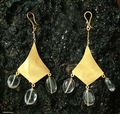 Gold vermeil quartz dangle earrings