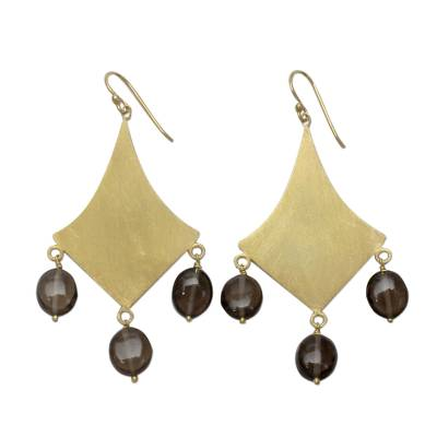 Gold vermeil smoky quartz dangle earrings