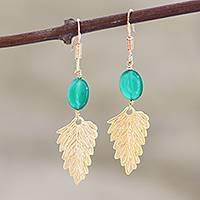 Gold vermeil dangle earrings, 'Mystic Dew' - Gold vermeil dangle earrings