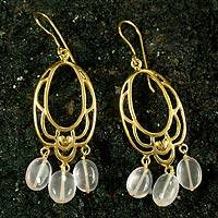 Gold vermeil rose quartz flower earrings, 'Romance'
