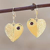Gold vermeil garnet heart earrings, 'Surrender to Love' - Gold vermeil garnet heart earrings