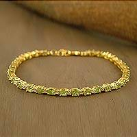 Gold vermeil peridot tennis bracelet, 'Golden Twilight' (India)