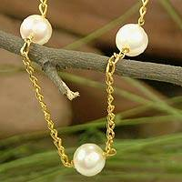 Gold vermeil pearl long necklace, 'Radiance' - Hand Crafted Gold Vermeil Pearl Station Necklace