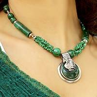 Malachite pendant necklace, 'Proud Peacock' - Beaded Malachite Necklace Artisan Crafted Jewelry from India