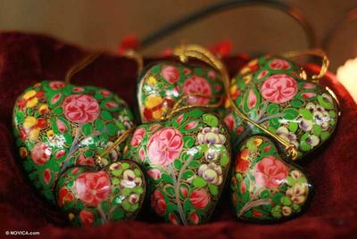 Ornaments, 'Blossoming Hearts' (set of 6) - Ornaments (Set of 6)