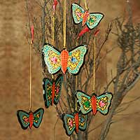 Wood ornaments Blossoming Butterflies set of 6 India