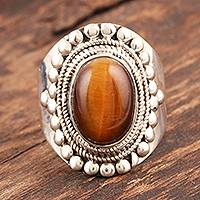 Tigers eye solitaire ring, Dancer