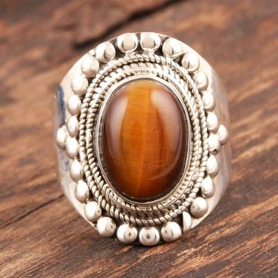 bean shaped silver necklace value - Tiger's eye solitaire ring