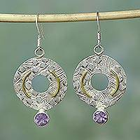 Amethyst dangle dangle earrings, 'Make a Wish' - Amethyst dangle dangle earrings