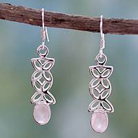 Rose quartz earrings, 'Daydream' - Rose Quartz and Sterling Silver Necklace Artisan Jewelry