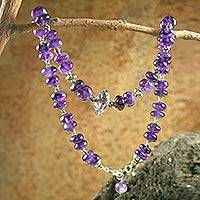 Amethyst strand necklace,