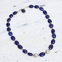 Lapis lazuli strand necklace, 'Forever Love' - Lapis lazuli strand necklace