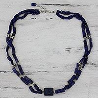 Lapis lazuli strand necklace,