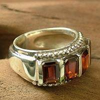 Garnet cocktail ring, 'Royal Quartet' - Garnet cocktail ring