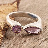 Amethyst cocktail ring, 'Attraction' - Amethyst cocktail ring