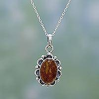 Amber pendant necklace, 'Light' - Hand Crafted Sterling Silver and Amber Necklace