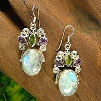 Rainbow moonstone and amethyst dangle earrings, 'Aura' - Sterling Silver Multigem Rainbow Moonstone Earrings